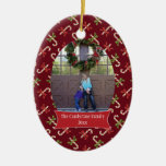 Red candycanes Christmas holiday photo ornament