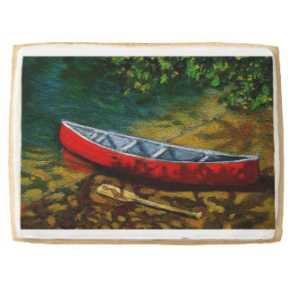 Red Canoe at River's Edge: Original Painting Jumbo Cookie