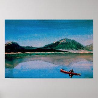 Red Canoe on Dillon Lake Poster