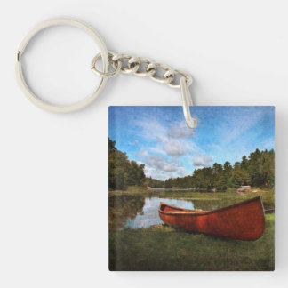 Red canoe on the bank of Devil's lake Single-Sided Square Acrylic Keychain