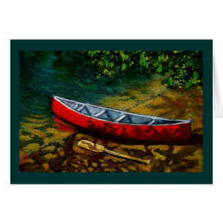 Red Canoe: Original Art, Painting: Summer, River Greeting Card