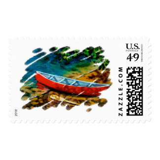 RED CANOE POSTAGE STAMP