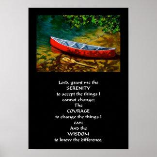 RED CANOE SERENITY PRAYER POSTER