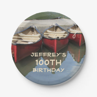 Red Canoes 100th Birthday Party Personalized Plate