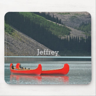 Red Canoes, Lake, Mountains Custom Mousepad