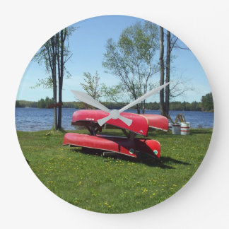 red Canoes on Beach Large Clock