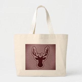 Red Canvas Glowing Deer Large Tote Bag