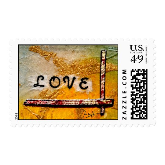 Red Canvas Heart on Yellow Gold - Love Postage