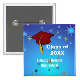 Red Cap and Stars Graduation Button