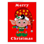 Red Cap Elf Greeting Cards