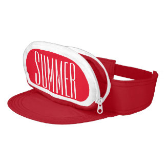 Red Cap-Sac fanny pack for your head, Summer Text Visor