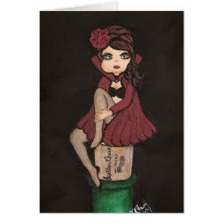 Red Cape Quantum Cutie Girl Greeting Card