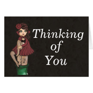 Red Caped Quantum Cutie is Thinking of You Greeting Card