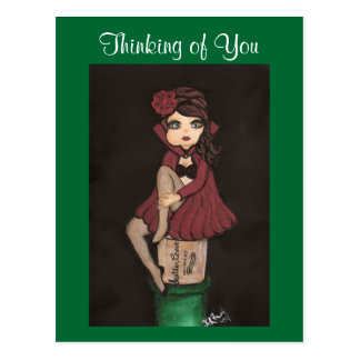 Red Caped Quantum Cutie is Thinking of You Postcard
