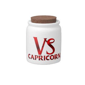 Red Capricorn Horoscope Symbol Candy Jars