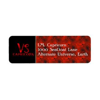 Red Capricorn Horoscope Symbol Label