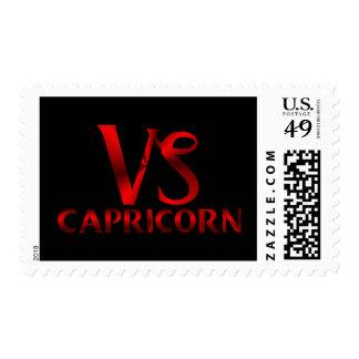 Red Capricorn Horoscope Symbol Postage Stamp