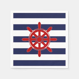 Red Captain's Wheel & Navy Horizontal Stripes Paper Napkin