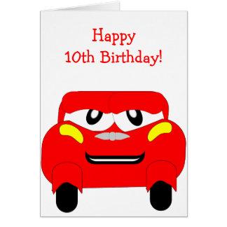 Red Car 10 Year Old Birthday Greeting Card