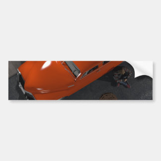 Red car and lamppost bumper sticker