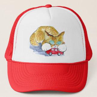 Red Car and Orange Tiger Kitten Trucker Hat