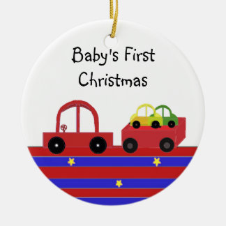 Red Car and Wagon Baby's First Christmas Ceramic Ornament