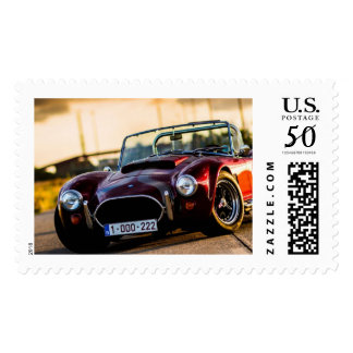 Red car.Classic car Postage