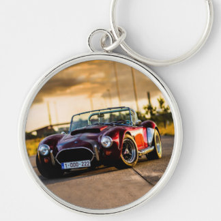 Red car.Classic car Silver-Colored Round Keychain