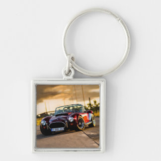 Red car.Classic car Silver-Colored Square Keychain