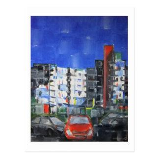 Red car in Grafton Street postcard