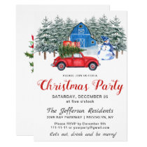 Red Car Snowman in Fores Holiday Christmas Party Invitation