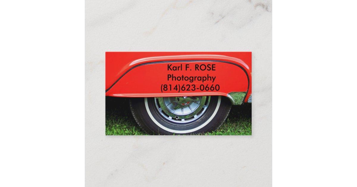 Red car tire business cards zazzle colourmoves