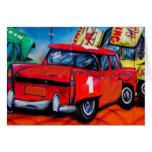 Red Car Wall Art Blank Card