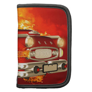 Red car with flame folio planners