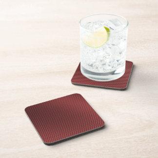 Red Carbon Fiber Patterned Beverage Coaster