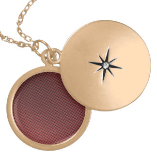 Red Carbon Fiber Patterned Gold Plated Necklace