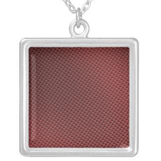Red Carbon Fiber Patterned Square Pendant Necklace