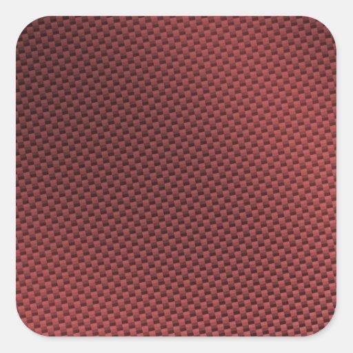 Red Carbon Fiber Patterned Square Sticker