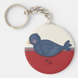 red card with bird basic round button keychain