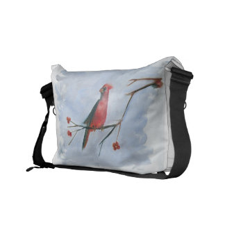 Red Cardenal  jay bird and berrys bag painting Messenger Bags
