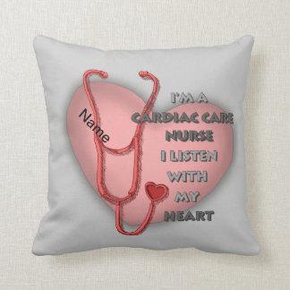 Red Cardiac Care Nurse Throw Pillow