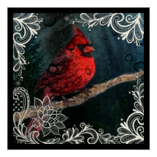 Red Cardinal and Lace.png Poster