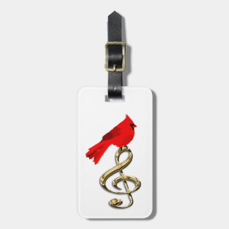 Red Cardinal and Music Luggage Tag