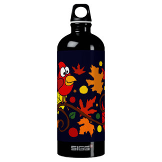 Red Cardinal Bird and Autumn Leaves Abstract Art Aluminum Water Bottle