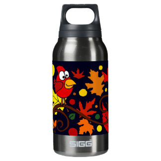 Red Cardinal Bird and Autumn Leaves Abstract Art Insulated Water Bottle