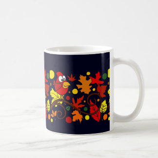 Red Cardinal Bird and Autumn Leaves Abstract Art Classic White Coffee Mug
