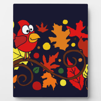 Red Cardinal Bird and Autumn Leaves Abstract Art Display Plaques