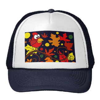 Red Cardinal Bird and Autumn Leaves Abstract Art Trucker Hat