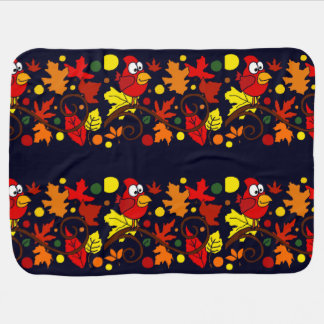 Red Cardinal Bird and Autumn Leaves Art Abstract Stroller Blanket