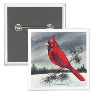 Red Cardinal Bird Art Pinback Button